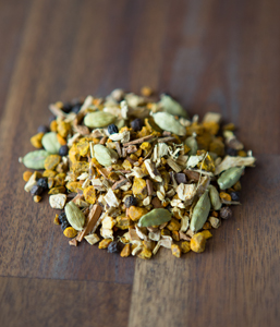 TURMERIC CHAIThis blend of herbs and spices is great for your digestion, cardiovascular health and a great liver detox. It's also a wonderful anti-inflammatory.  All Organic Ingredients: Turmeric, cinnamon, liquorice, ginger, cardamom pods and pepper. -
