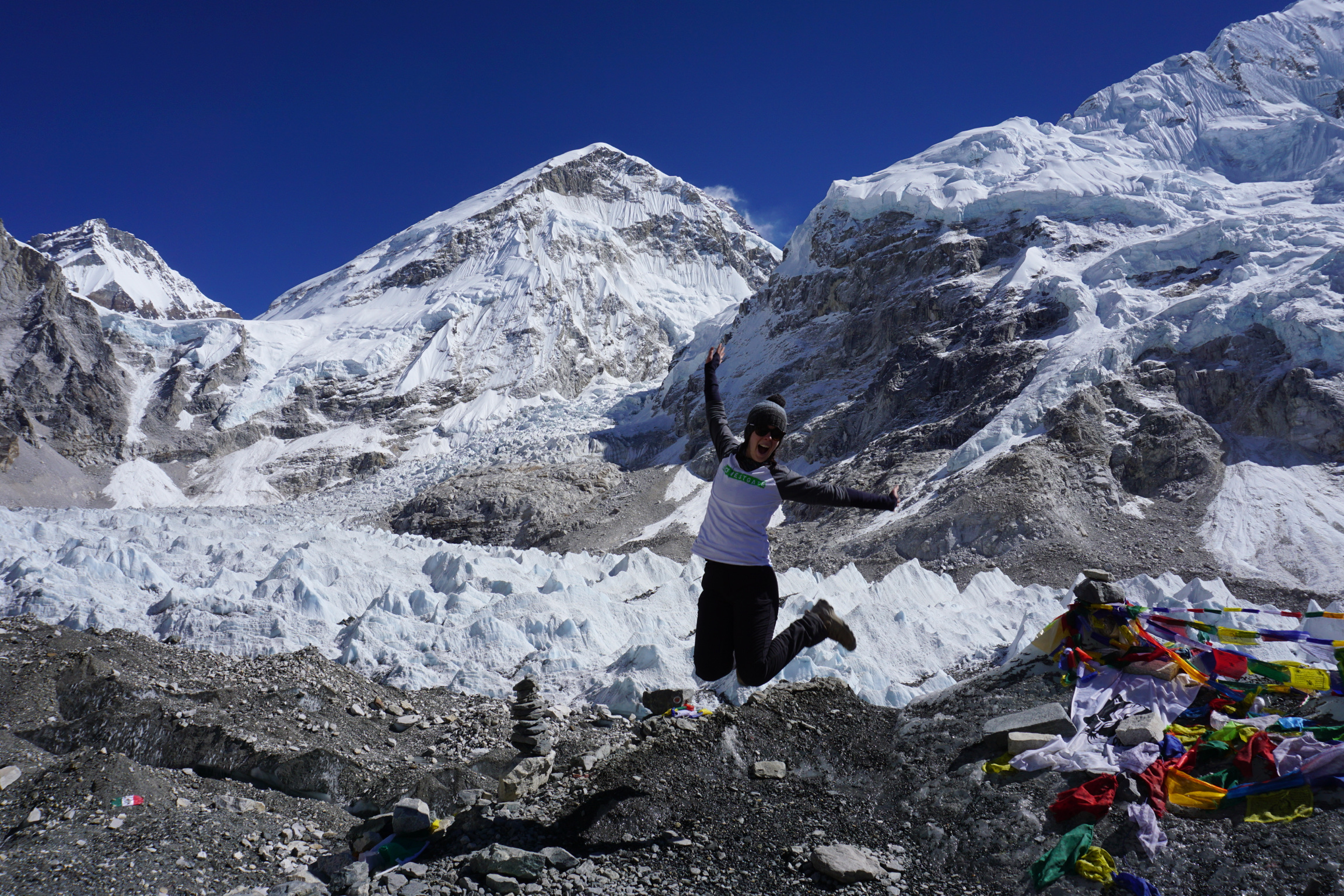 Jess rocking her Westgate top at Mt Everest Base Camp (5530m)