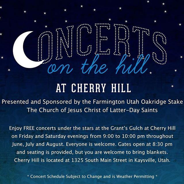 We're playing tomorrow night (Friday) at the Cherry Hill Water Park in Kaysville! PLEASE NOTE: Doors open at 8:00pm and the show starts at 8:30. Come say hi! . . . #cityofenochmusic #concertsonthehill #cherryhill #christianmusic