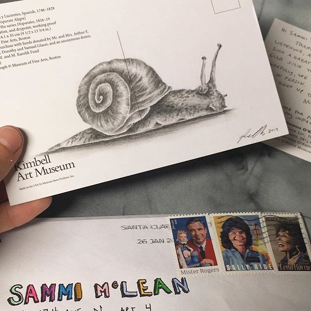 One of my favorite visual artists and overall favorite person I've never met, @robyn_oneil , sent me some snail mail and this awesome postcard drawing as a prize for winning a contest on her podcast, 'Me Reading Stuff'. If you appreciate poetry, humor and sincerity, I can not recommend her podcast enough. Thank you for taking the time to personalize this for me, Robyn - I love it SOOO MUCH!