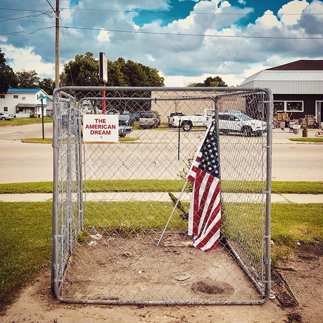 """""""THE AMERICAN DREAM""""  American Flag, Metal Cage. July 4, 2019."""