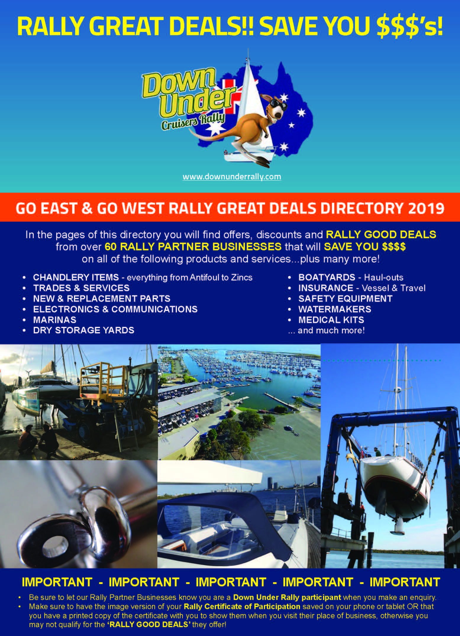 Rally Great Deals Directory -  2019 Go East & Go West Rally participants  - Click image above to view