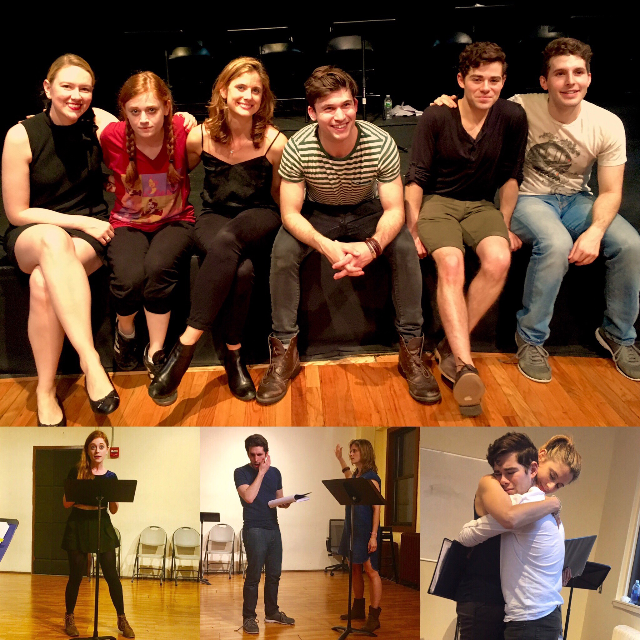 Top: (from L) Charity Schubert (Stage Directions), Susannah Perkins (Gertrude), Elizabeth Inghram (Lang), Marrick Smith (Ross), Misha Osherovich (Georgie), and Ryan Molloy (Phillip). Bottom: (L cube) Susannah Perkins, (Center cube) Ryan Molloy (L) and Elizabeth Inghram, (R cube) Elizabeth Inghram embraces Misha Osherovich.