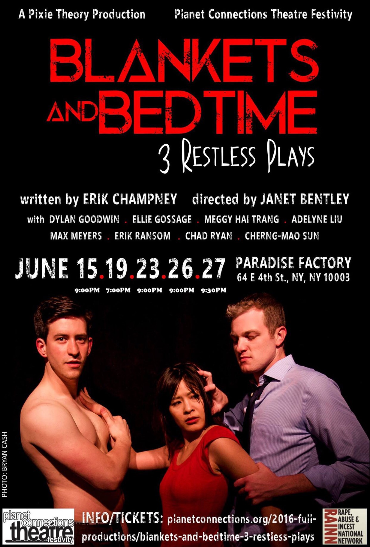 "Originally, one actor representing each of the 3 ""restless"" plays would be showcased in  Blankets and Bedtime 's marketing. A scheduling mishap called for a quick replacement for our photo shoot, which did away with the desired concept. Max Meyers (L) and Chad Ryan (R) were co-stars in one piece but neither ever shared the stage with Meggy Hai-Trang."