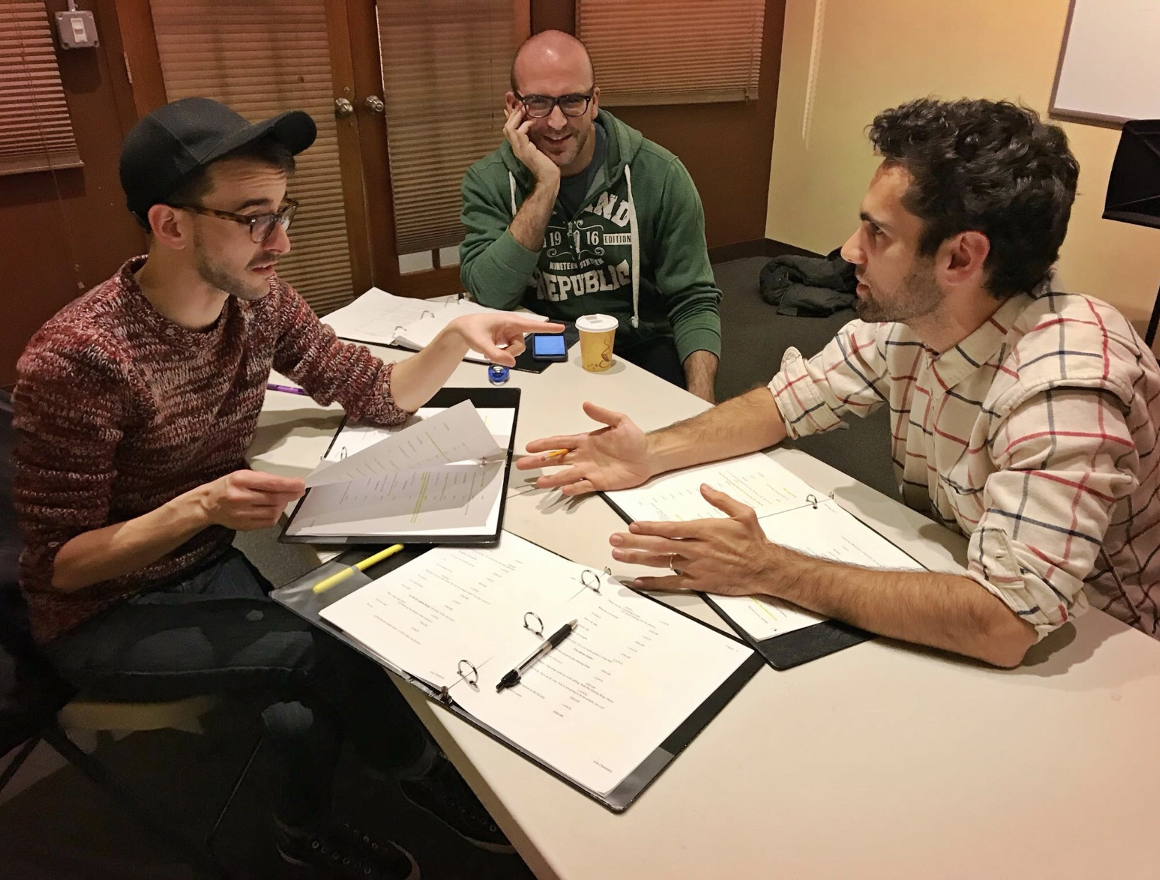 Remy Germinario (L) as Lance, director Shaun Peknic, and Wil Petre as Edgar in rehearsal for  Legacy .
