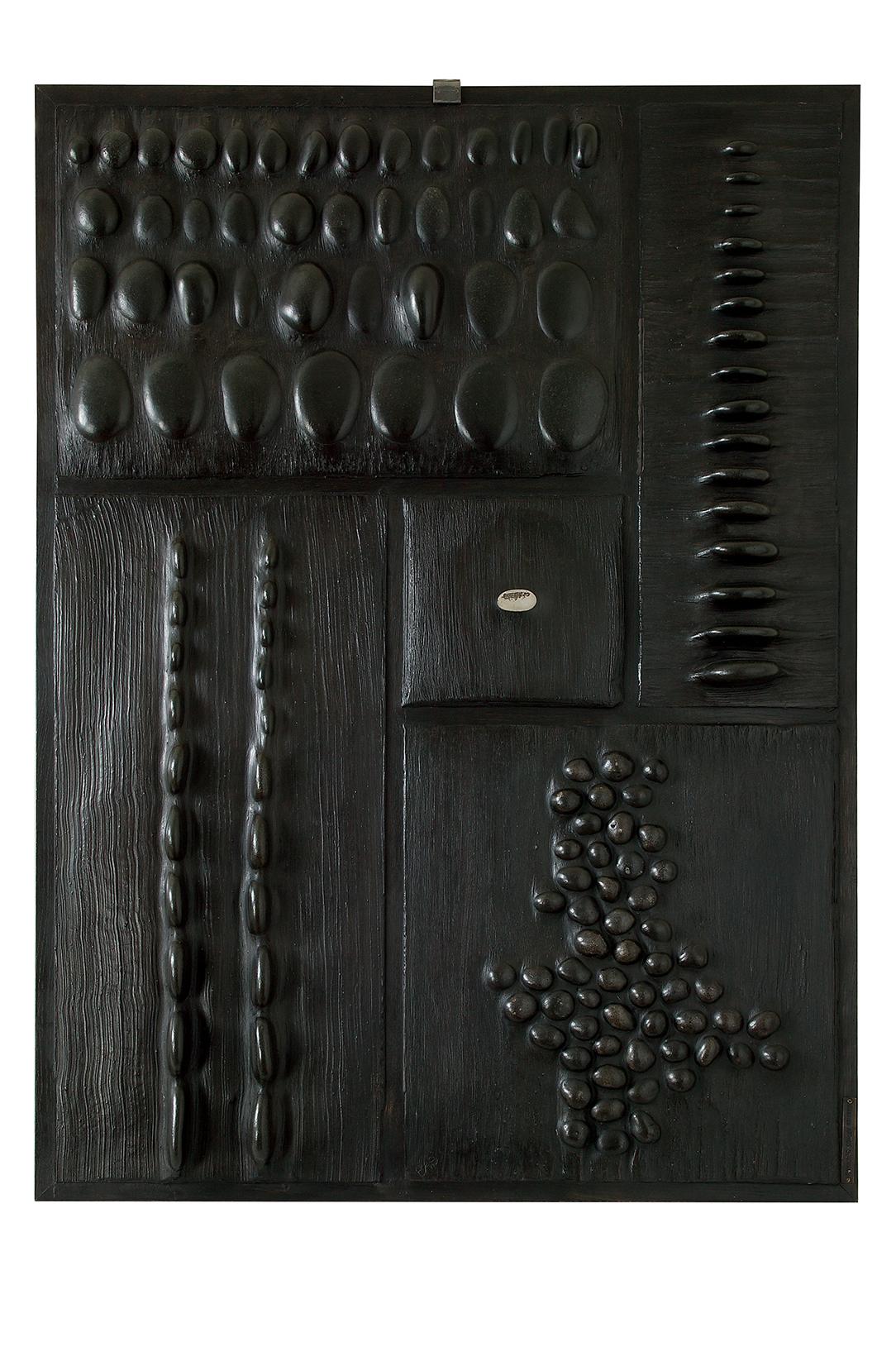 L'oeil  H 105 cm - L 75 cm Cadre en chêne, galets, ciment teinté ciré.