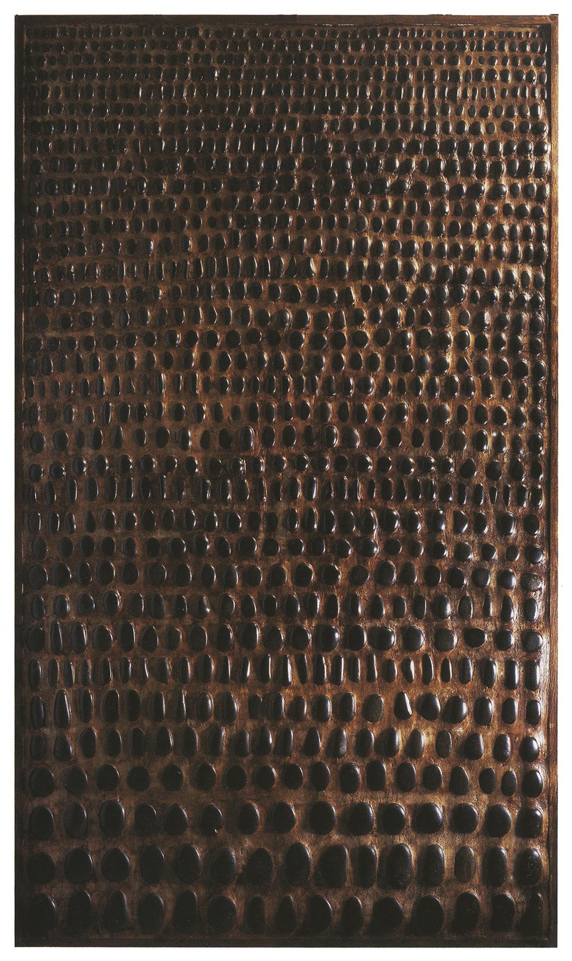 Shangaï  H 205 cm - L 100 cm Cadre en chêne, galets, ciment teinté ciré