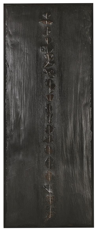 Ligne Pure  H 100 cm - L 50 cm Cadre en chêne, galets, ciment teinté ciré.