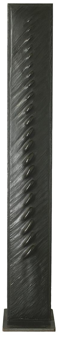 Titre  H 180 cm - L 20 cm Cadre en chêne, galets, ciment teinté ciré.
