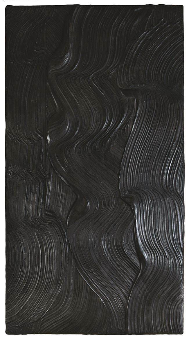 Marée noire  H 98 cm - L 53 cm Ciment teinté ciré.