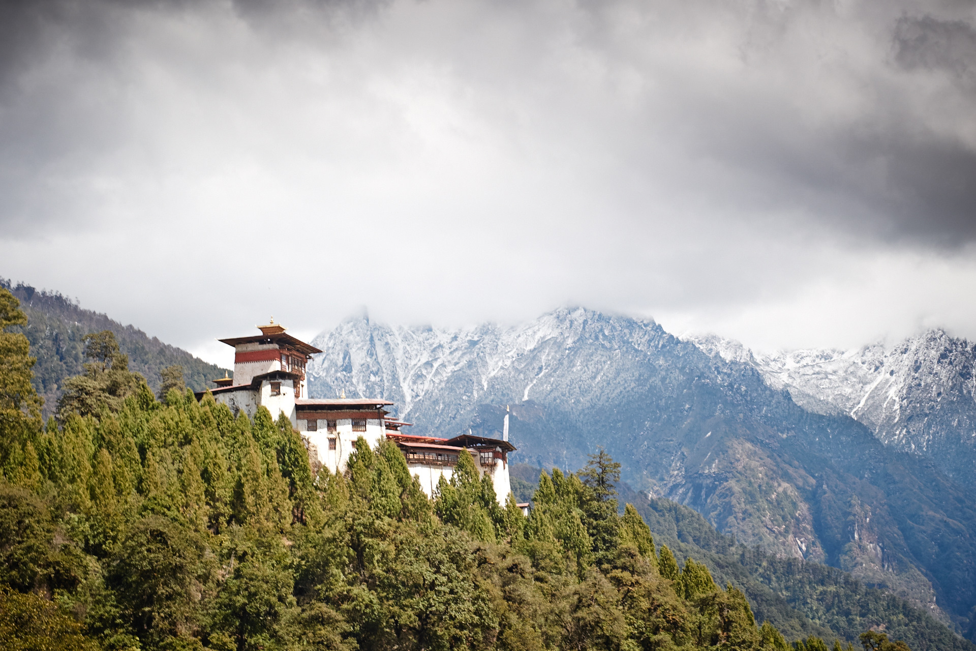 Gasa Dzong at the foot of the Himalayas