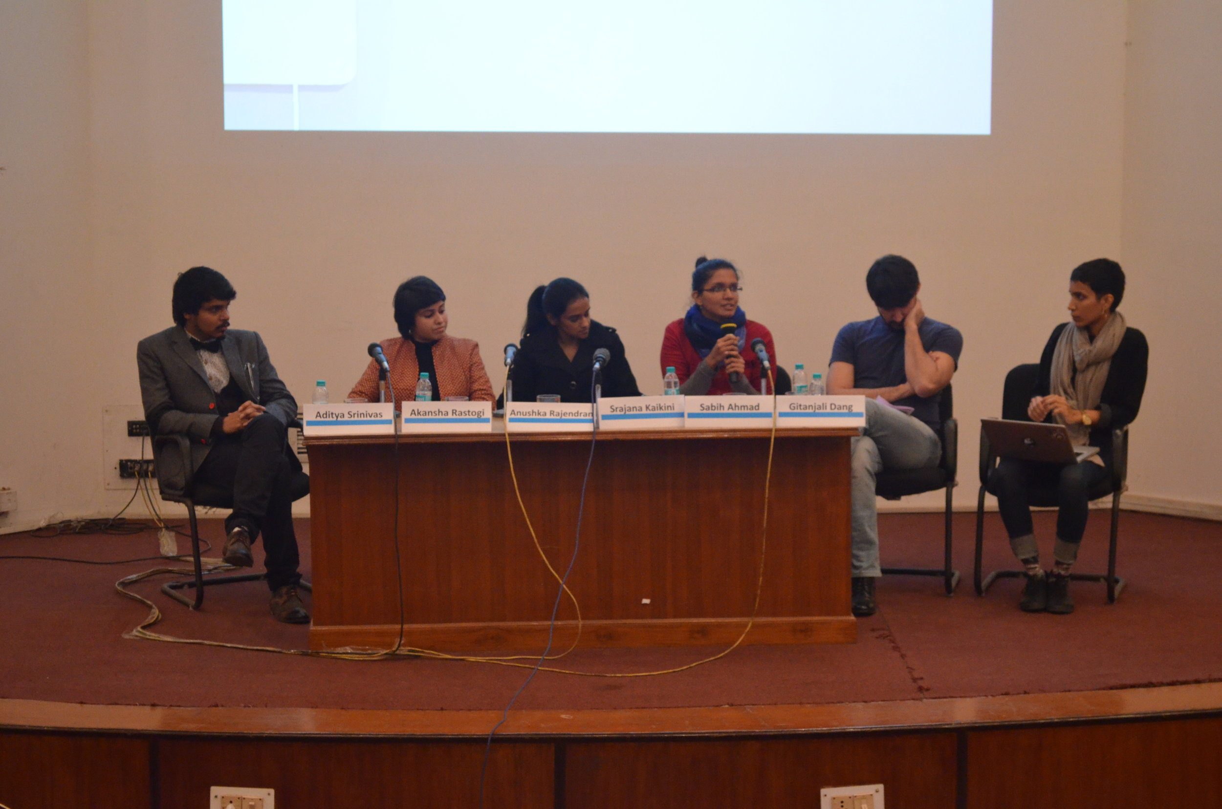 Young Curator's Forum with Aditya Srinivas, Sabih Ahmad, Anushka Rajendran, Srajana Kaikini, Akansha Rastogi and Gitanjali Dang.