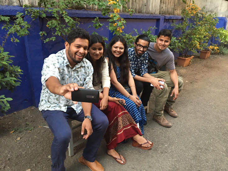 Fine Art Awardees, Diptej Vernekar, Tullika MS, Moumita Das, Sanket Jadia and Tapan Mohrana take a selfie before the evening's program.