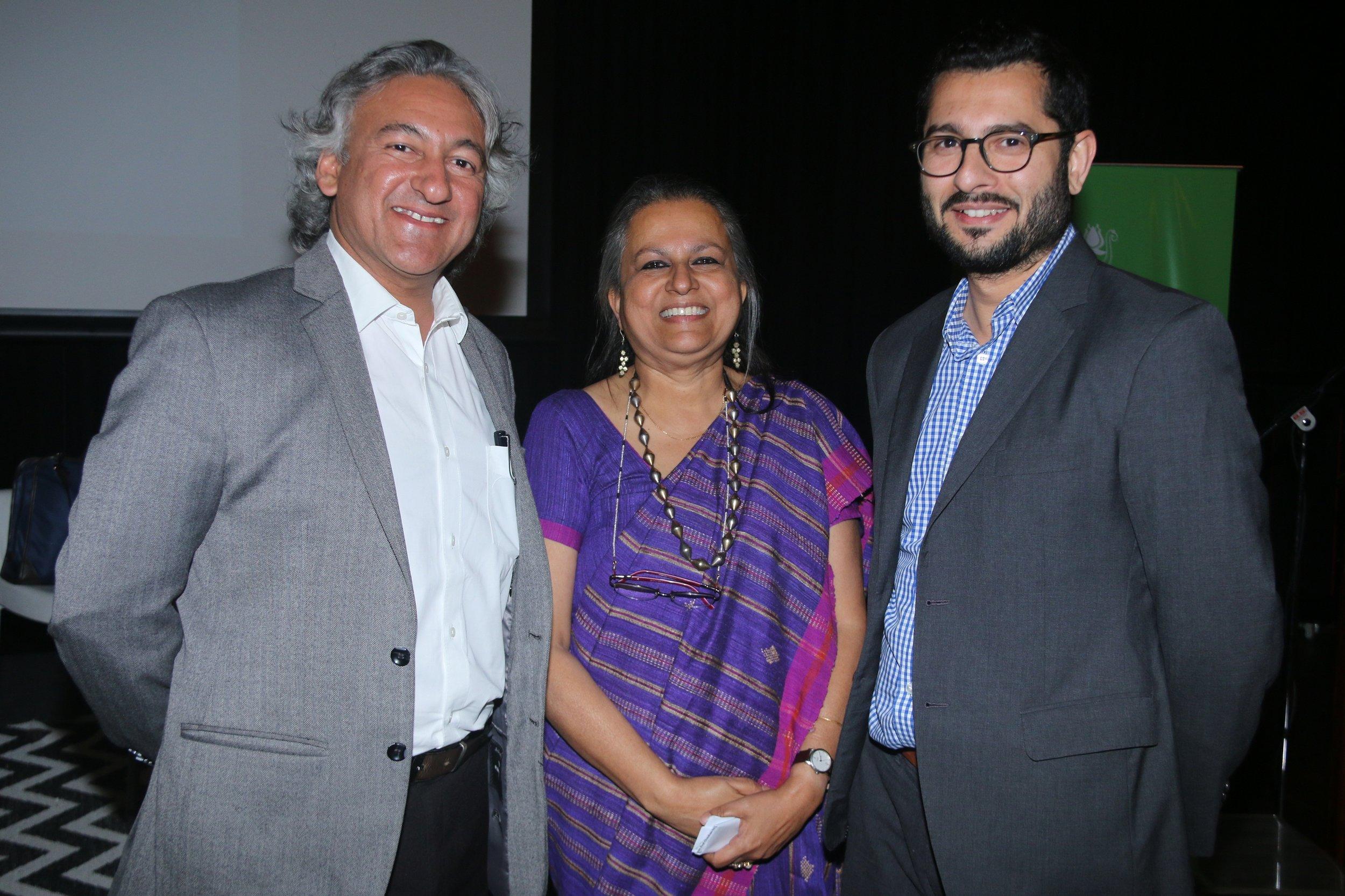 Anupam Sah and Mortimer Chatterjee with Amita Malkani.