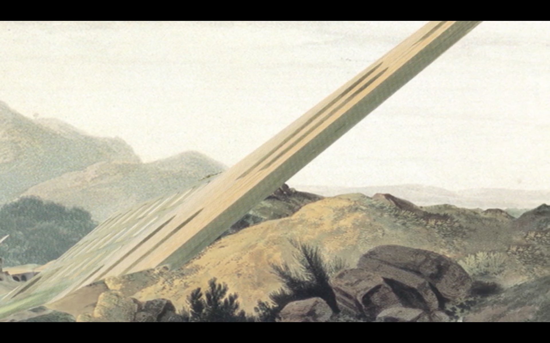 Video stills - 01  Painted Diagram of a Future Voyage (Who believes the lens?)  Animated Loop. 2013