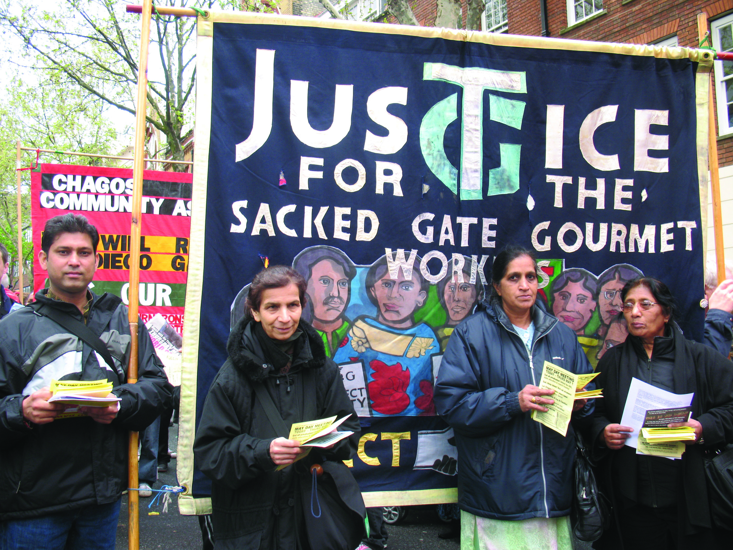 Sacked Gate Gourmet workers, May Day rally, London, 2008 © Sundari Anitha