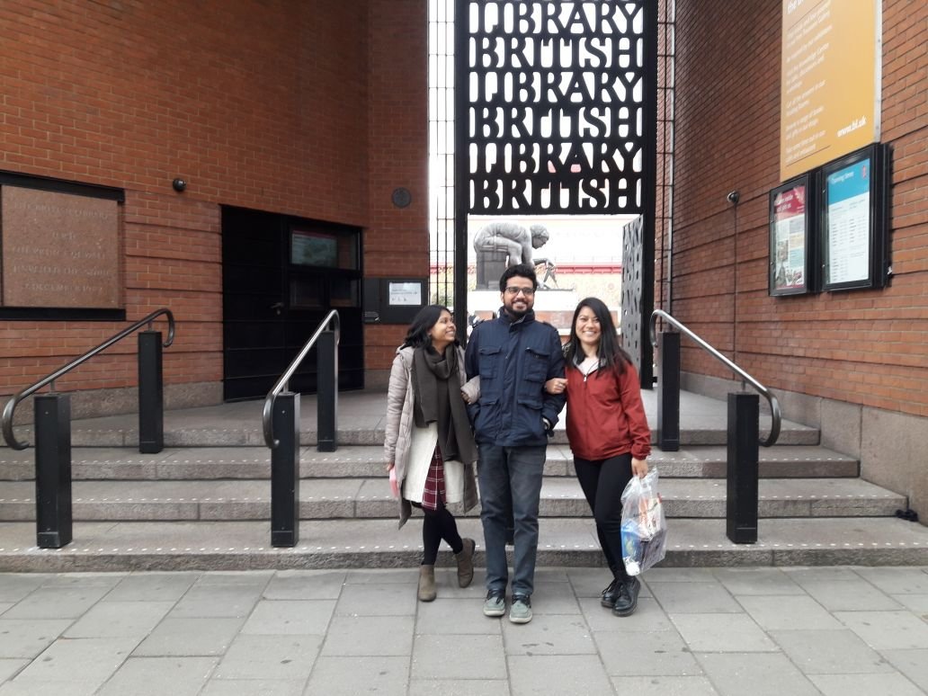 At the British Library with Rishika, PhD, University of Exeter (left) and Praveen, PhD, University of Delhi (centre).