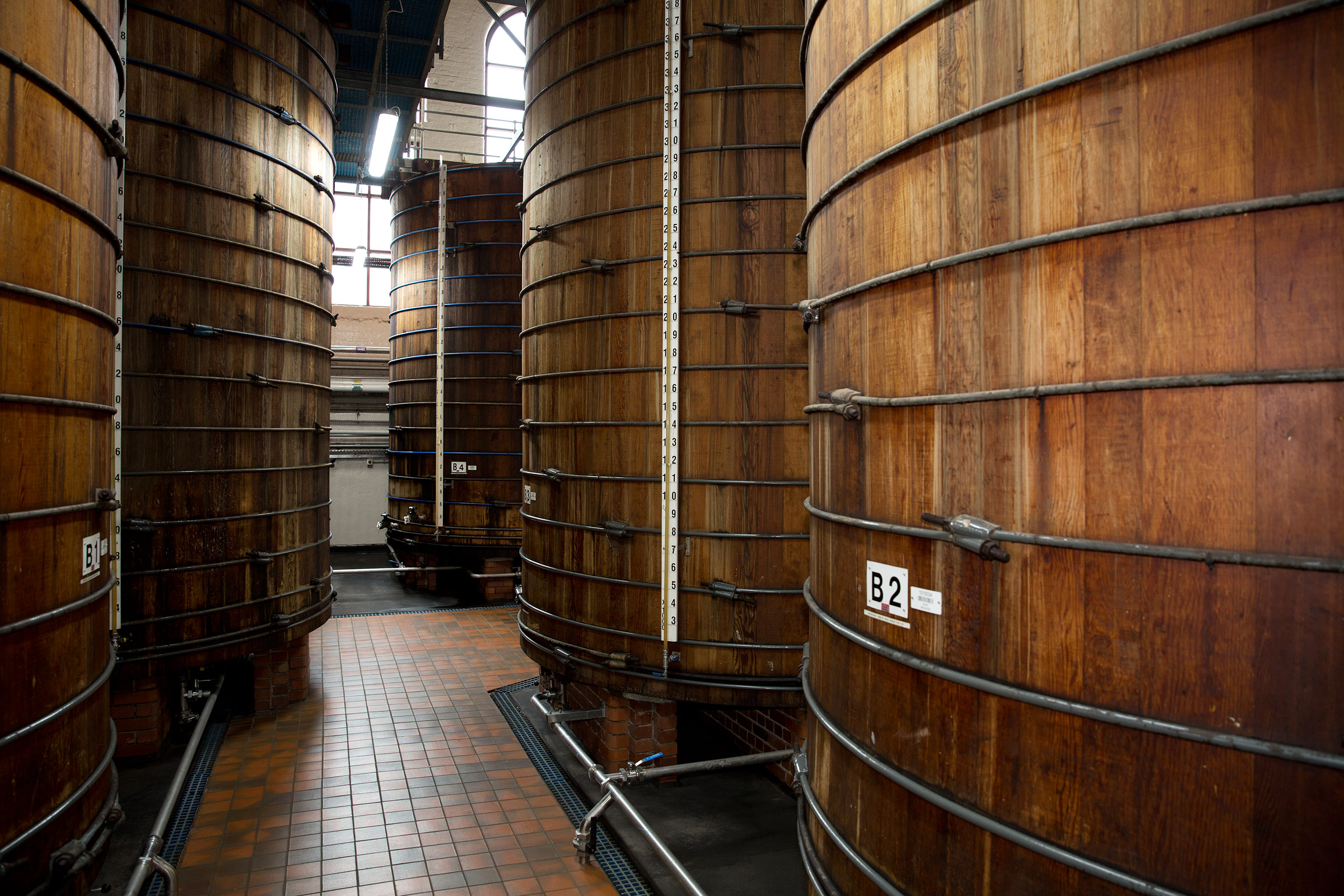 These century old barrels are at the heart of the Sarson's factory