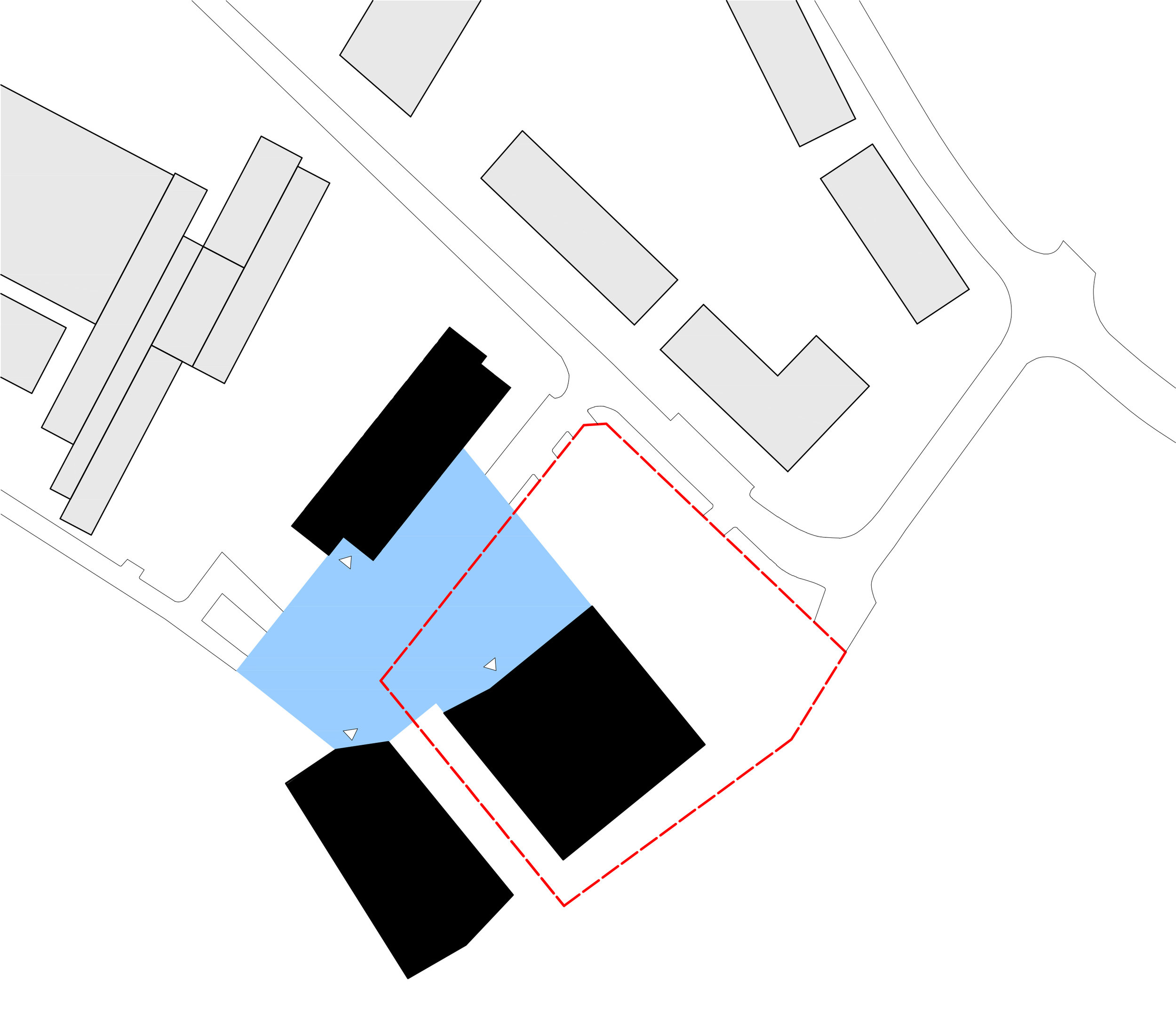 Der Veranstaltungssaal, der Kindergarten und die zukünftige Schulerweiterung formen ein Ensemble öffentlicher Gebäude. Alle drei Gebäude liegen an einem gemeinsamen Platz.