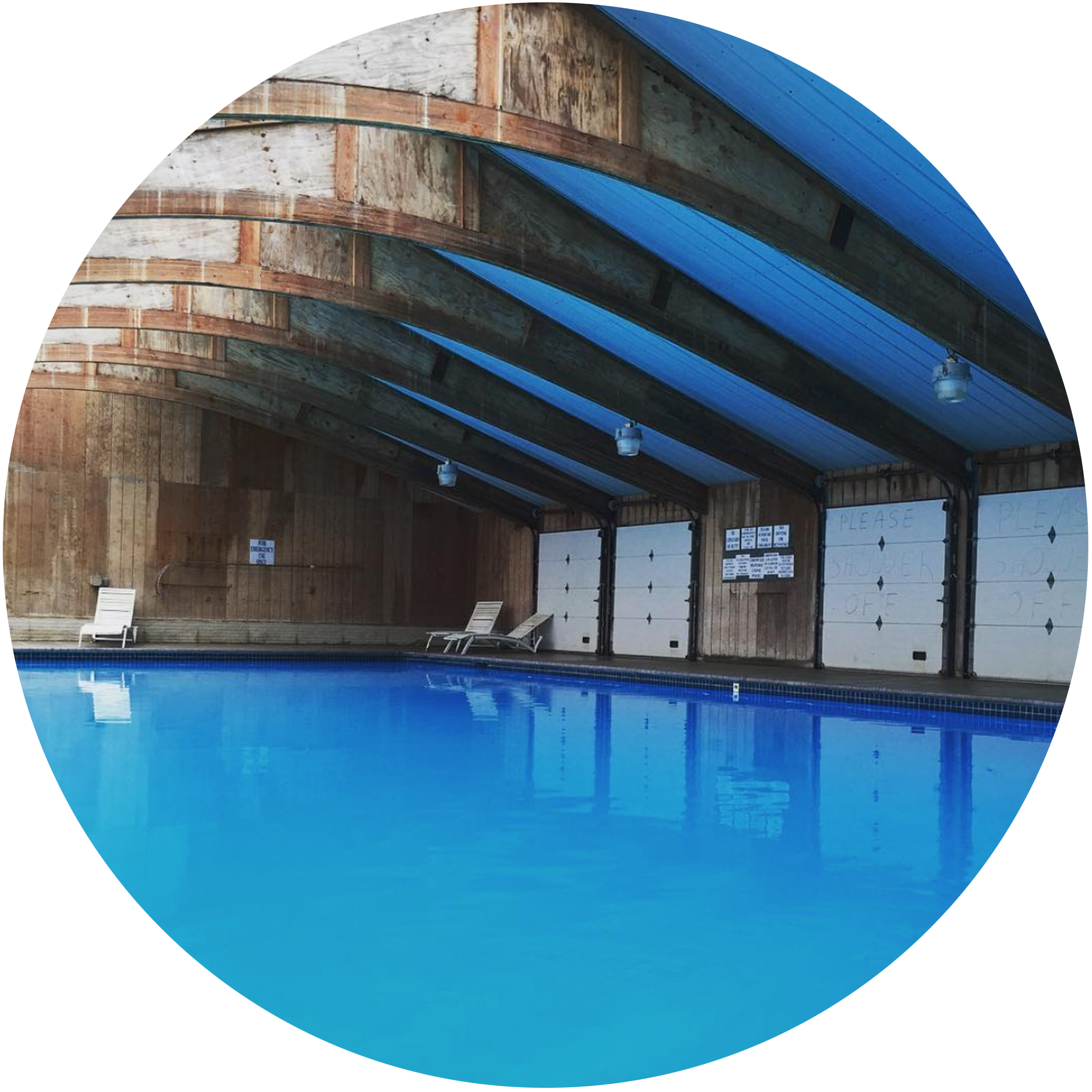 Three-Season Indoor Heated Swimming Pool  As guests of the Resort, you have free access to our pool. Rain or shine, you can enjoy. Stairs entrance points for your convenience. Pool is usually open from May 1 through mid-October.