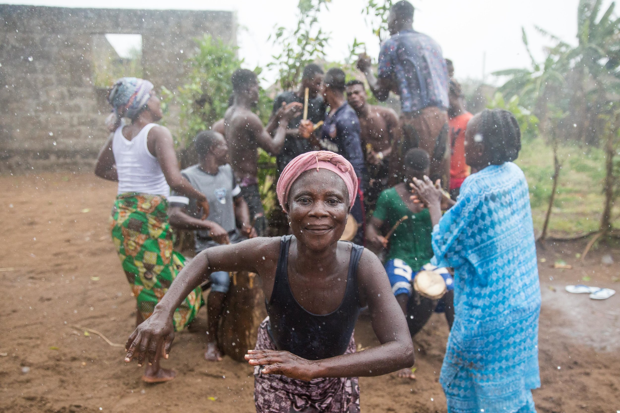 Residents of a small village near Ouidah, southern Benin, take part in a traditional voodoo ceremony.