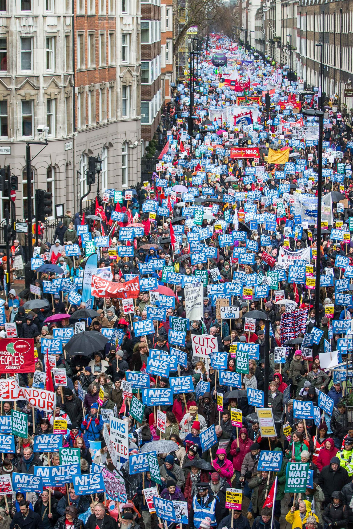 Thousands join the Fund Our NHS demonstration in central London, February 2018. London, England - February 3 2018.