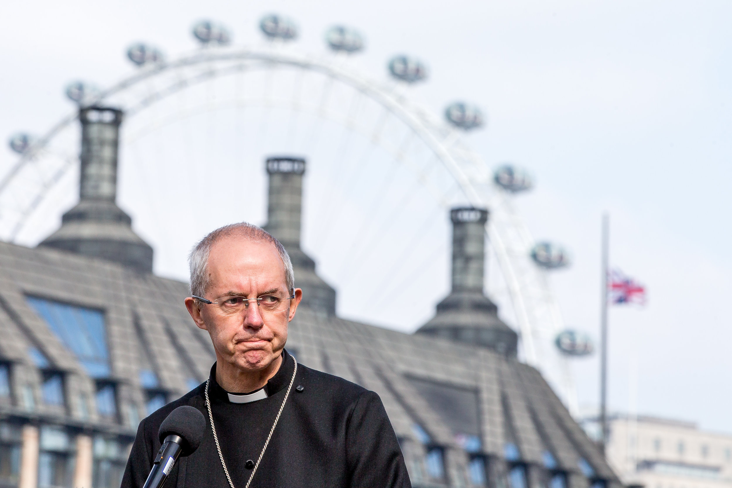 Faith leaders came together for a vigil and held a one minute silence following the terror attack on Westminster on Wednesday (22March17). Justin Welby in photo