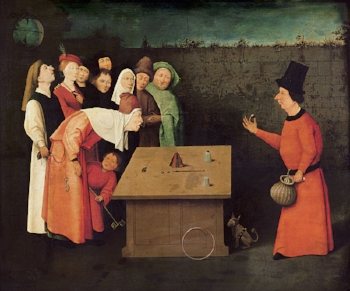 """Classic Misdirection depicted in Heironymus Bosch's 'The Conjurer"""""""