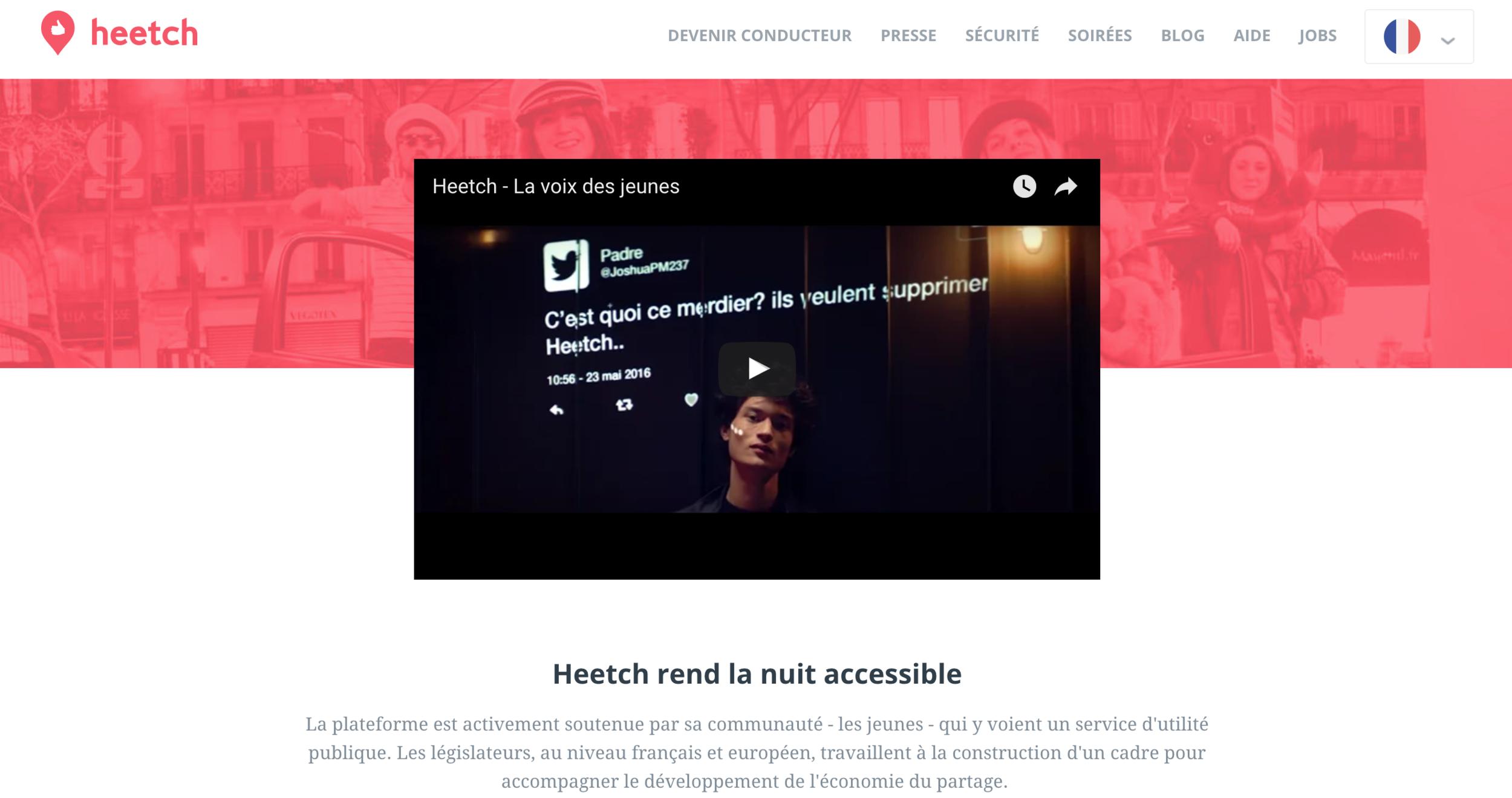 Capture d'écran du site Heetch