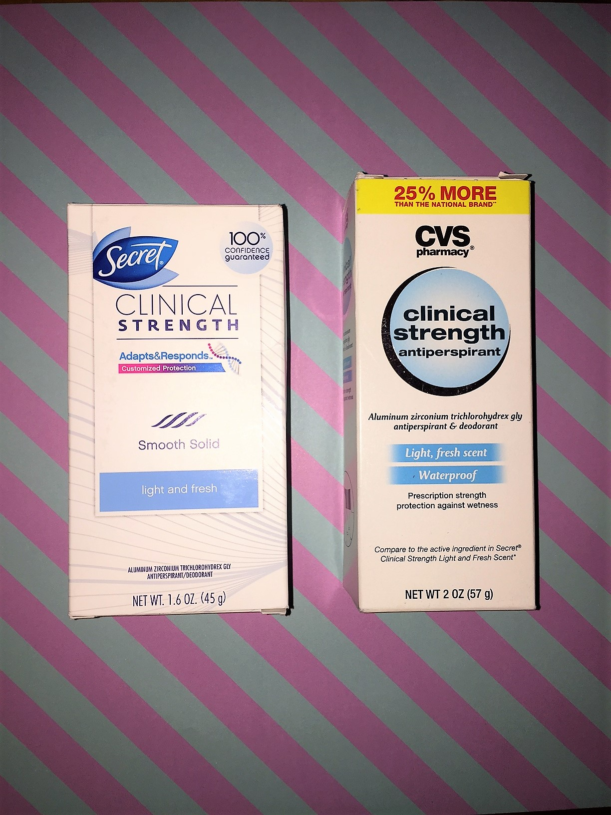 We recommend sticking with Secret in this case because the CVS Clinical Strength did not work as well and became gritty with wear.