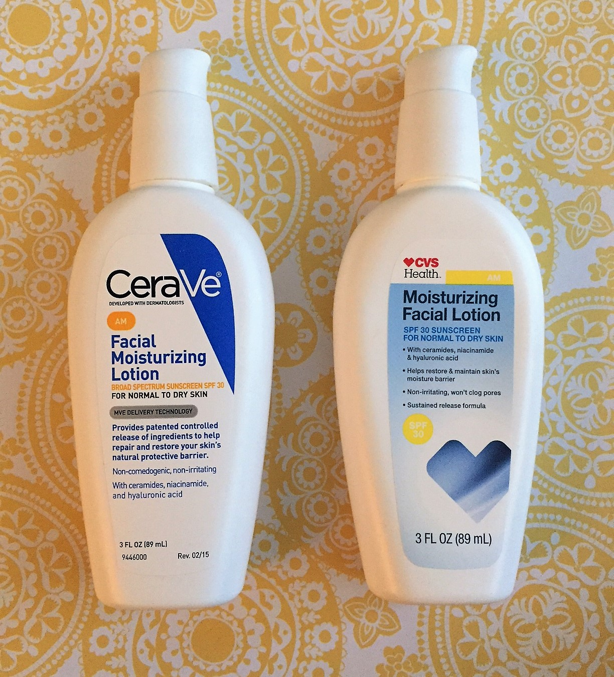 We recommend saving by switching to the CVS version as we can't tell the difference! The CVS version uses the same percentages of active ingredients that are in a prior version of CeraVe.