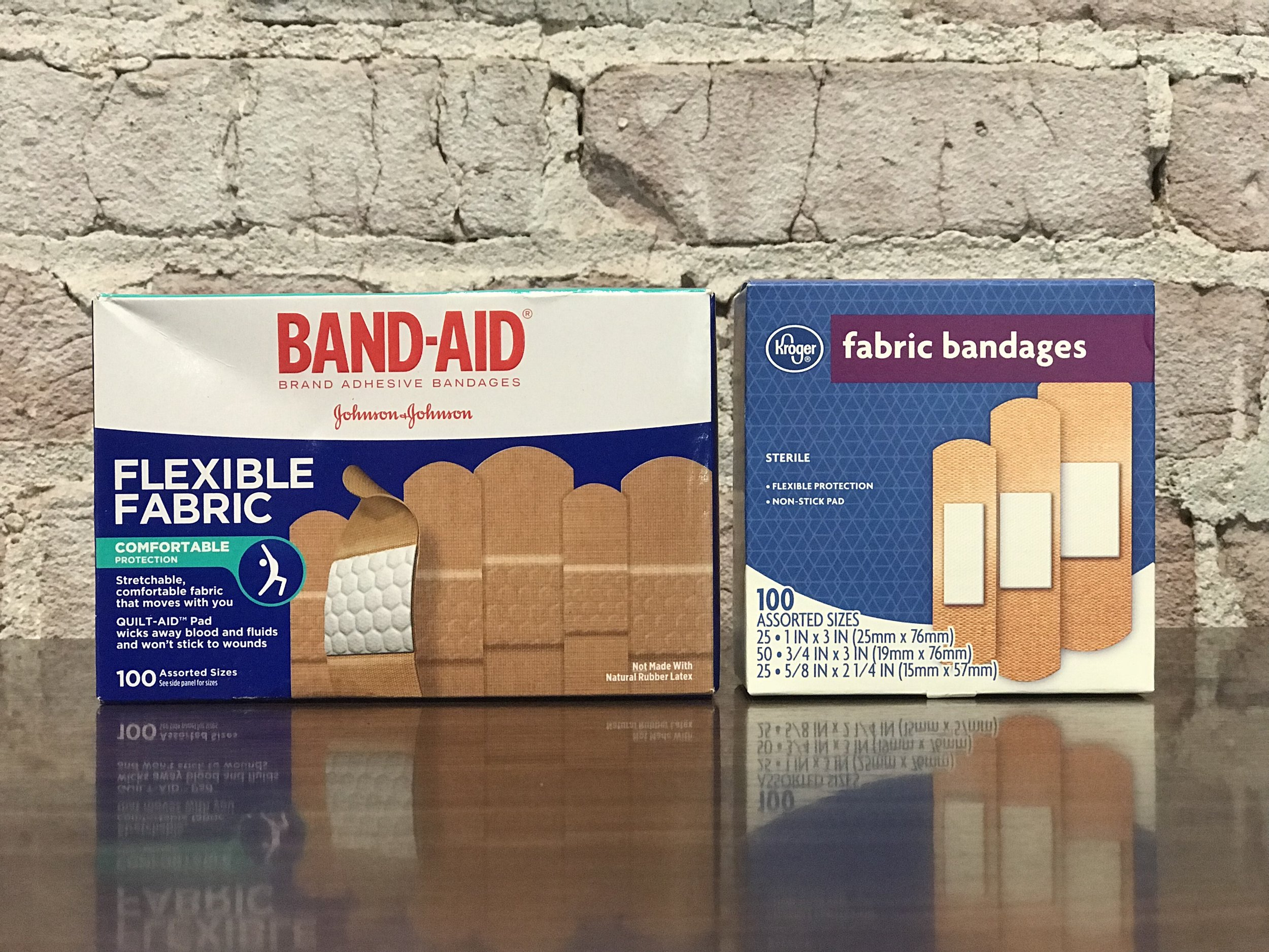 We found the Kroger bandages 90% similar to the Band-Aid brand.