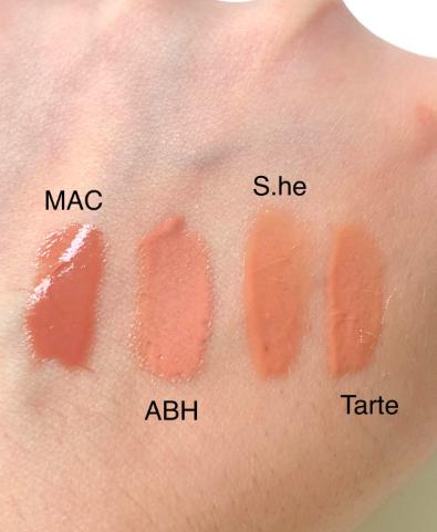 MAC in Lust, ABH in Butterscotch, S.He in #1, Tarte in Candid