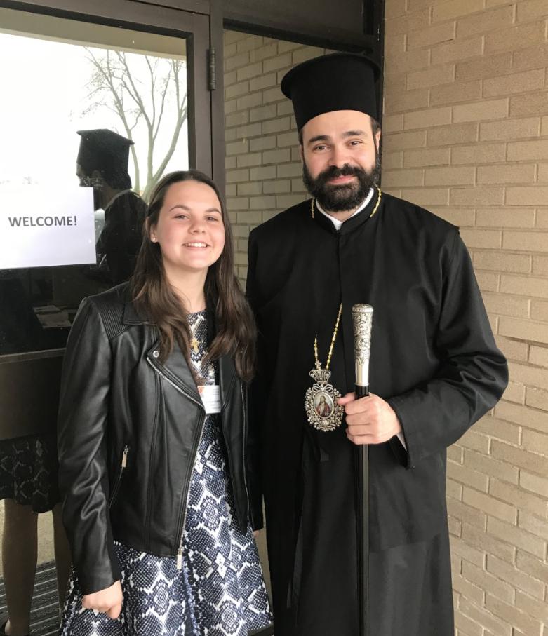 Anastasia Earth at the 2018 Oratorical Festival with Metropolitan Nathaniel