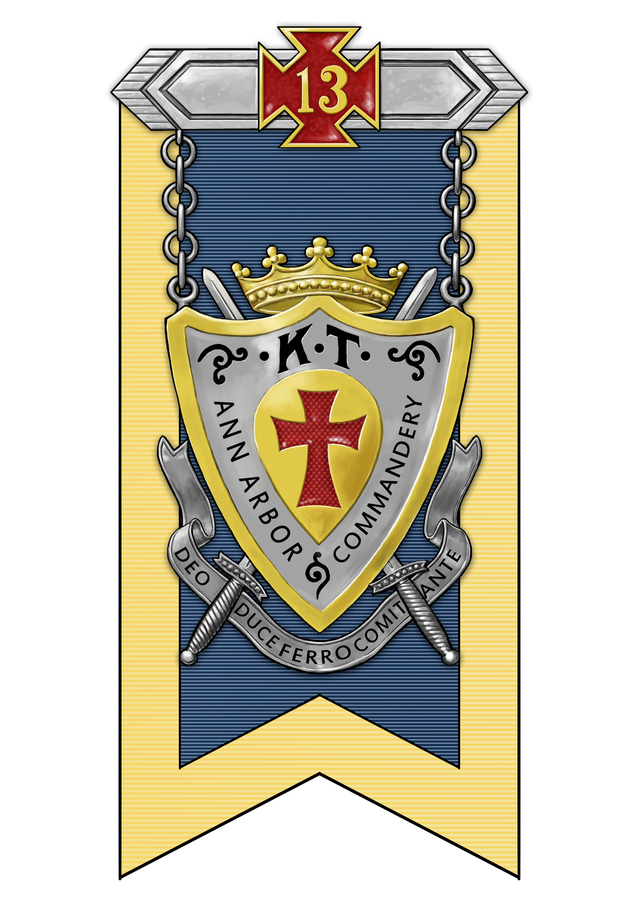 Check out this artist's rendition of Ann Arbor Commandery No. 13's Drill Badge!