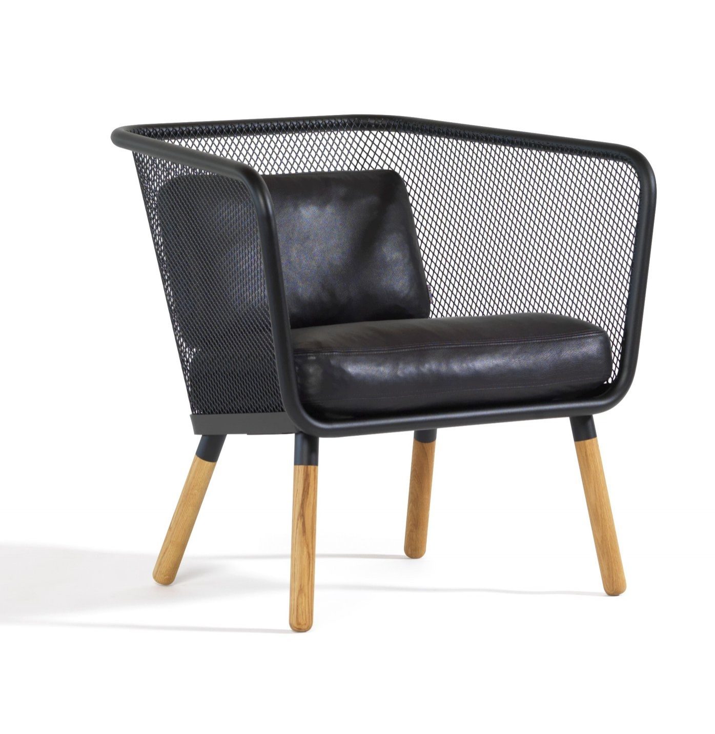 Honken –Small.  A generously spacious armchair, the Honken Small becomes a space of relaxation. Constructed with durable steel and expanded metal, Honken is a fusion of traditional wood with modern, futuristic metals. Image: Blå Station