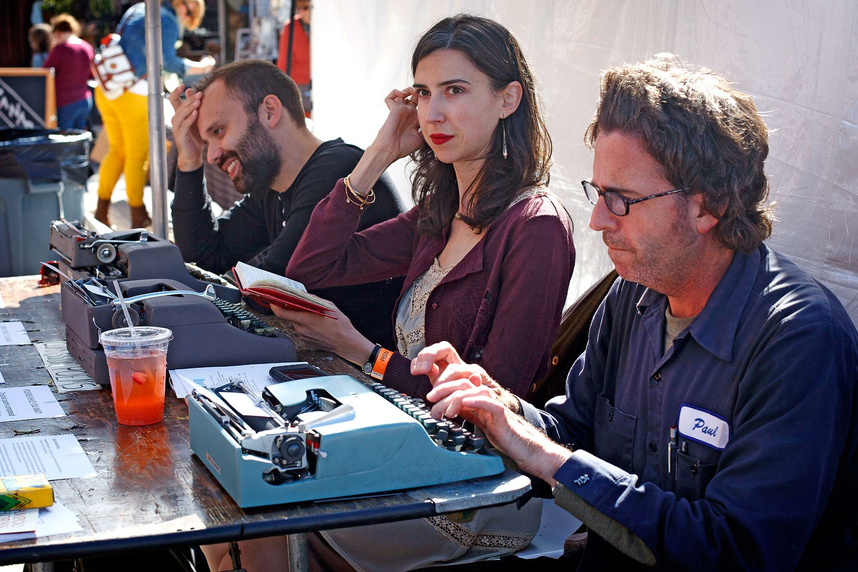 Dave,  Kathleen Rooney,  and  Eric Plattner , 2014 Randolph Street Market. Photo: Taylor Glasscock/Chicago Tribune