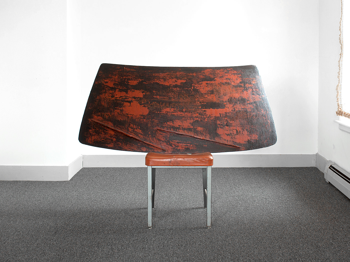 Red Windshield / Carved & Painted Wood with Chair. 2012.