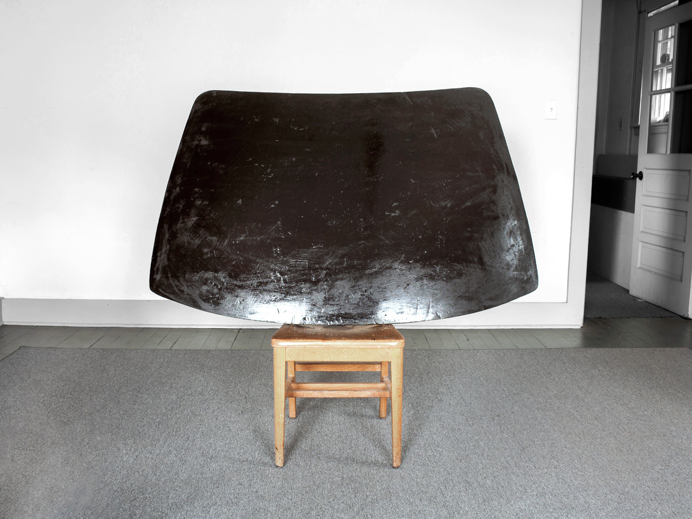 Umber Windshield / Carved & Painted Wood with Chair. 2012.