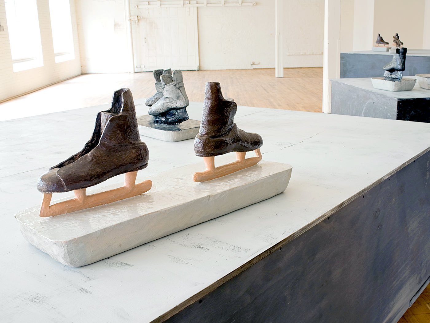 Carved & Painted Wood. Wooden Platforms with Metal Push Bars. 2009.