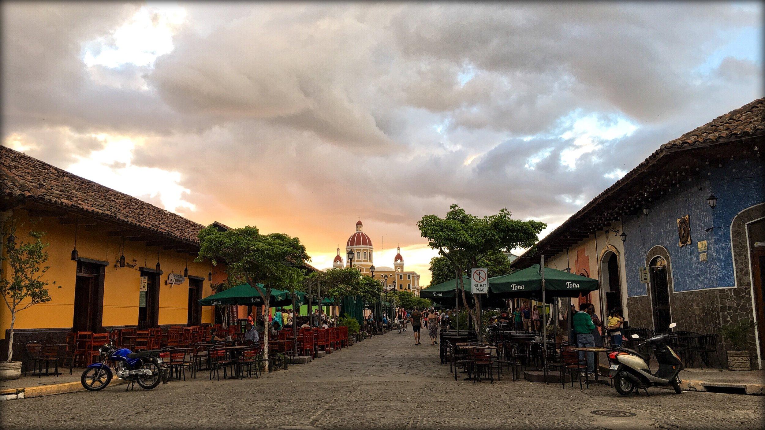 Lunch on Calle La Calzada in Granada, Nicaragua