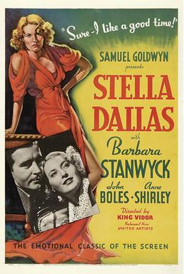 Stella Dallas - Have your tissues ready for this homage to the ways in which motherhood often means self-sacrifice. I watched this movie in Women's Film Studies in college and cried the whole time.