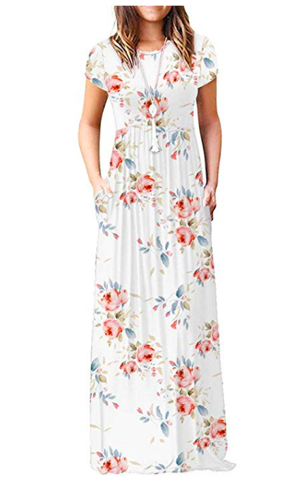 CLASSIC BUT CASUAL FLORAL DRESS - This comfy dress looks so much like a similiar dress worn by 1940s film star and Latina bombshell Rita Hayworth. Gorgeous!!!