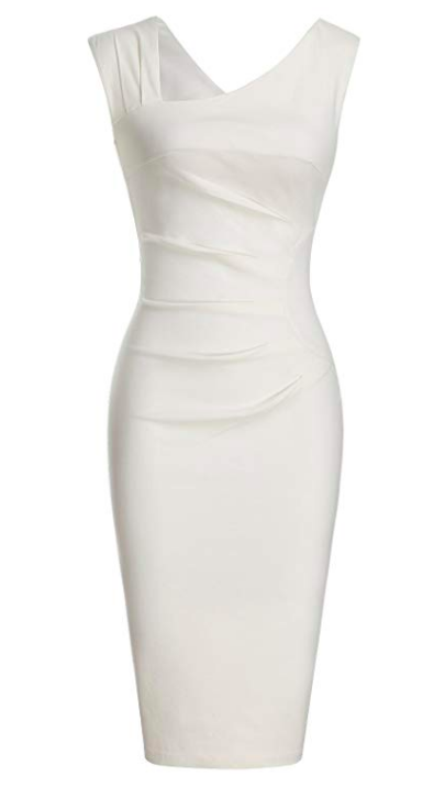PENCIL SKIRT DRESS - The updated neckline on this classic silhoutte gives this little number an extra dose of chic. You are ready to be a glamourous leading lady!