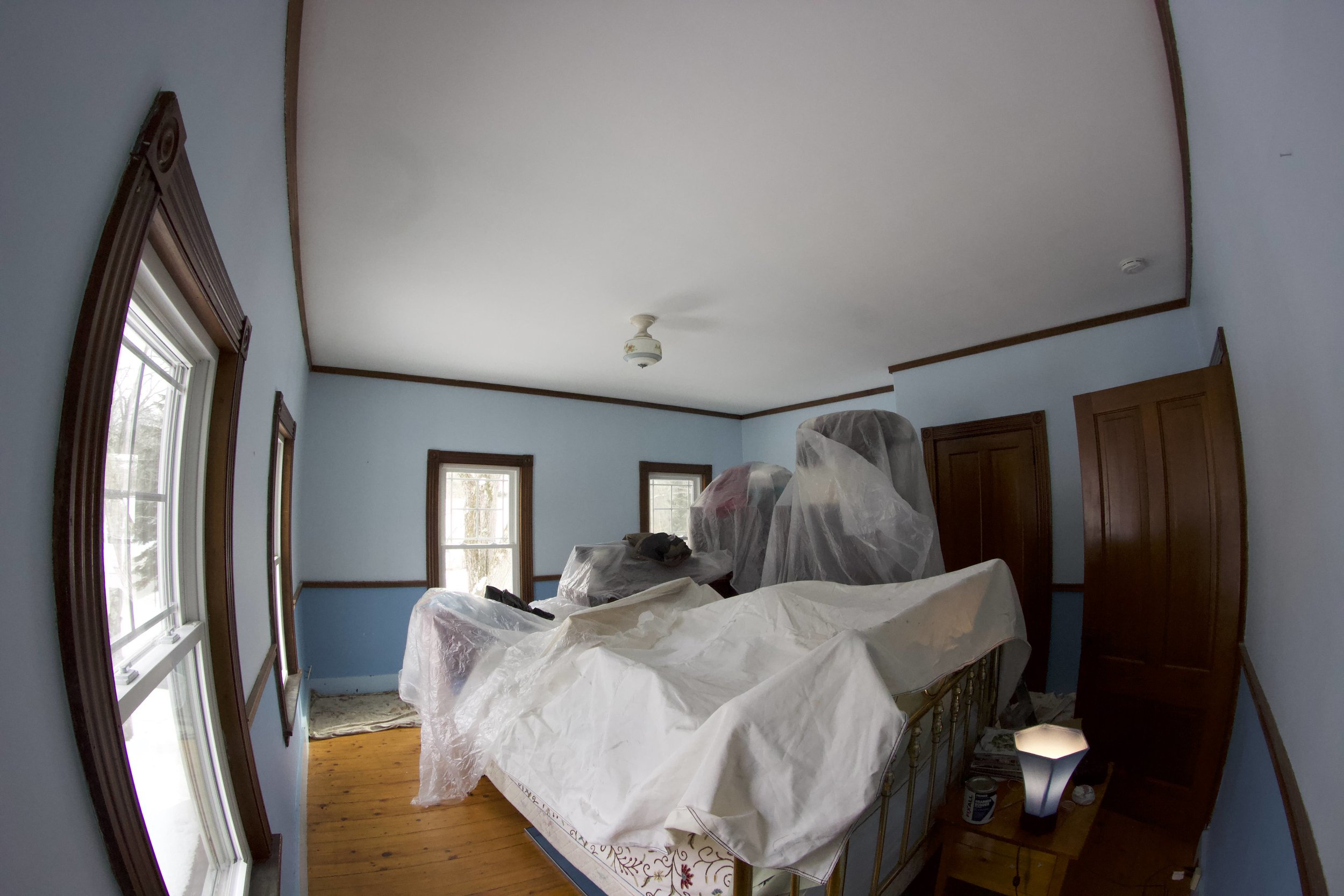 Interior painting, prep, before painting.