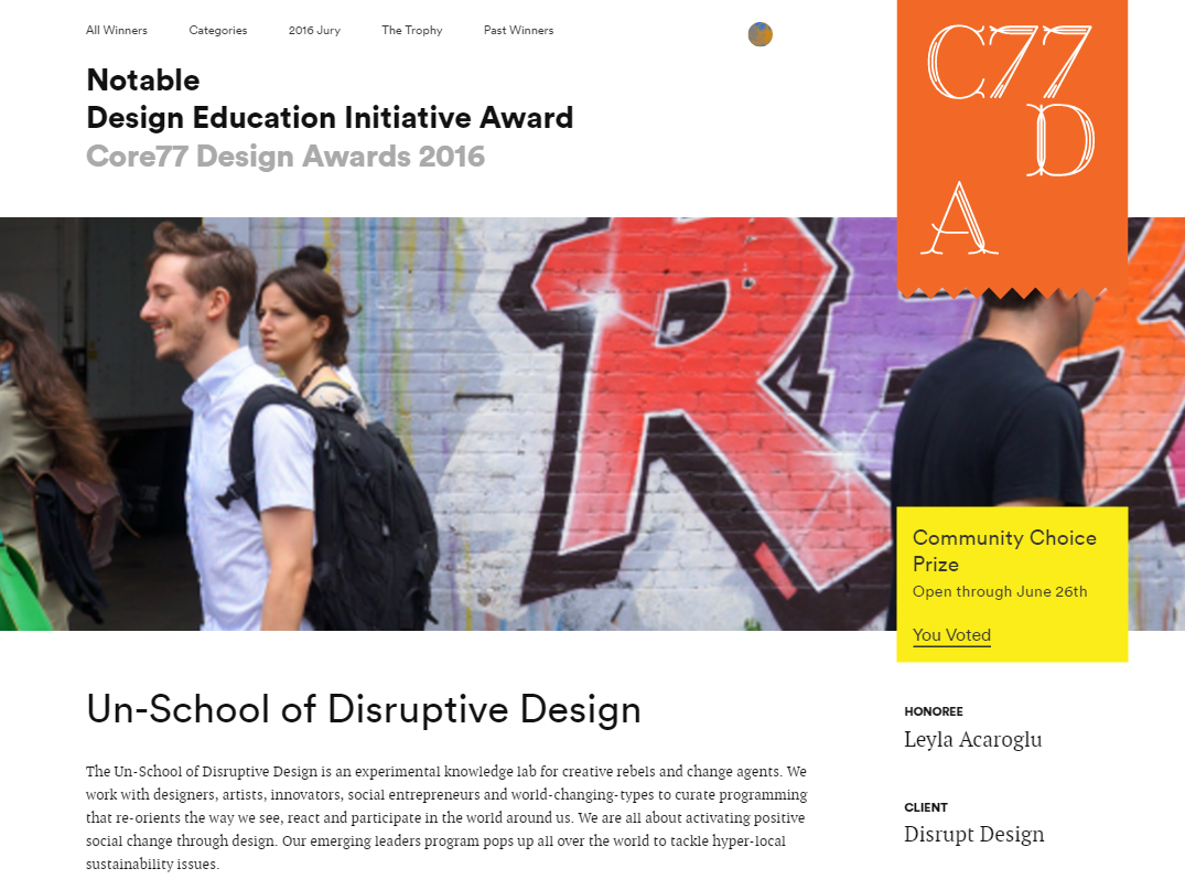 unschool of disruptive design core77 winner