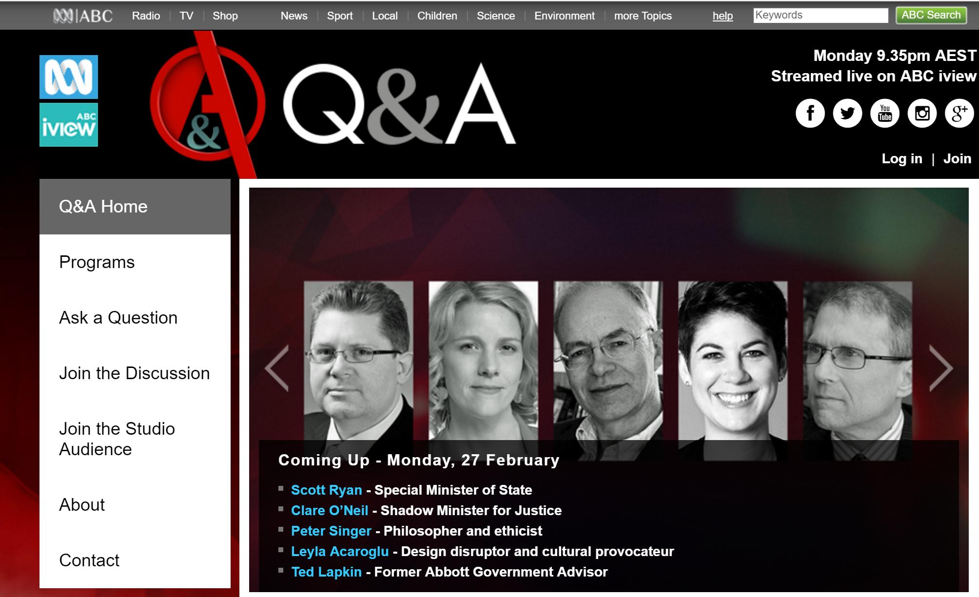 Leyla Acaroglu on ABC Q and A