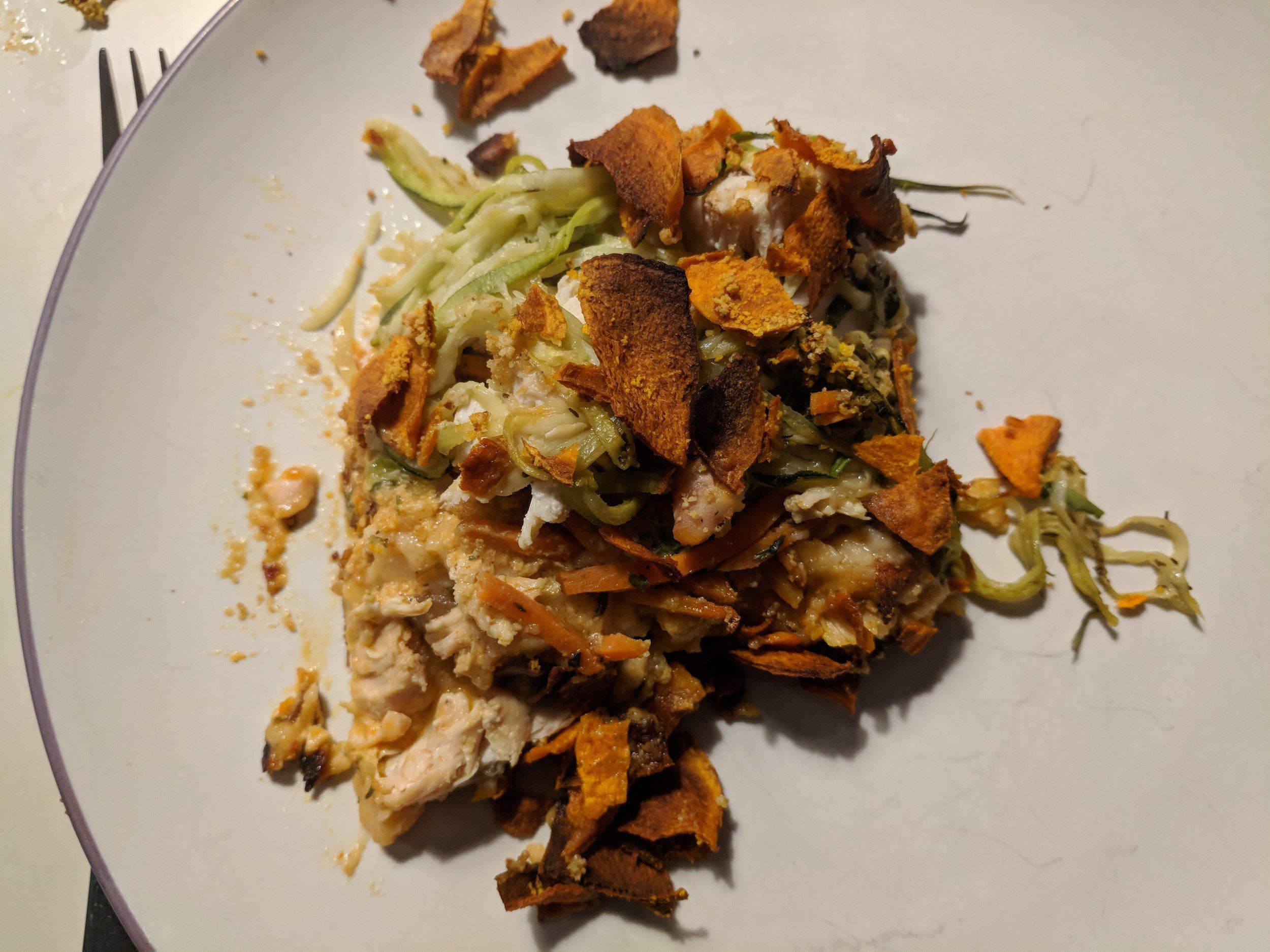 Chicken Zucchini Noodle Casserole