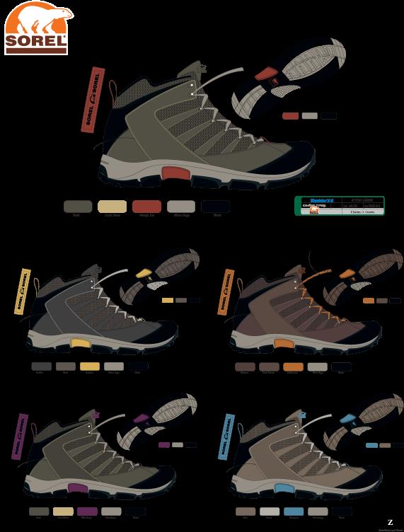 Sorel  Men's and women's hiking boot colors.