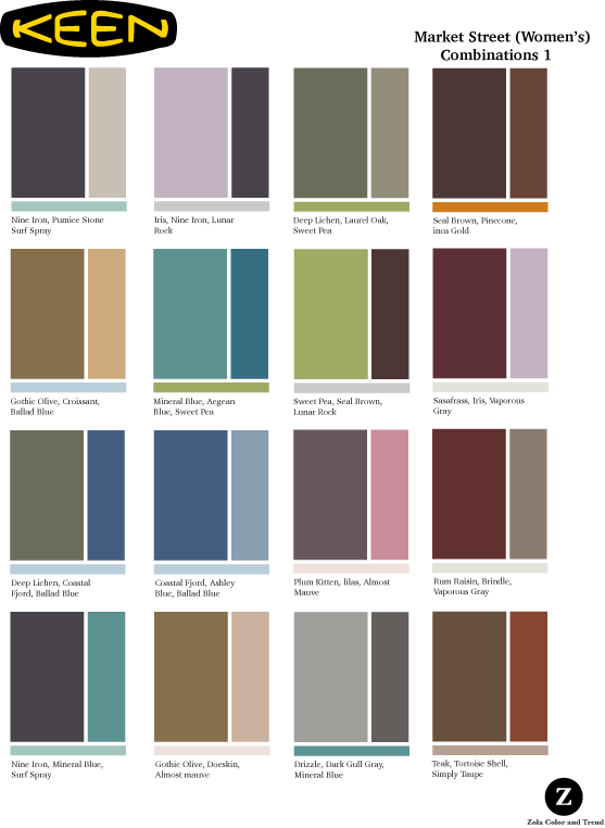 Keen   As part of each season's palette project, these were created as suggestions for using the Market Place specific color palette.